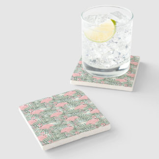 Hip Pink Flamingoes Cute Palm Leafs Pattern Stone Coaster