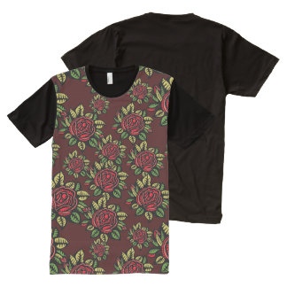Hip retro red roses American Apparel All-Over Print T-Shirt
