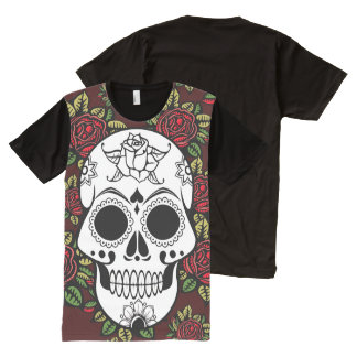 Hip retro red roses American Apparel skull All-Over Print T-Shirt