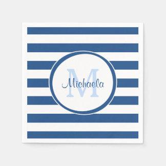 Hip Rich Blue Monogram and Horizontal Stripes Disposable Serviette