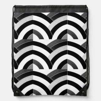 hip sophisticated black/white curved chevron drawstring bag