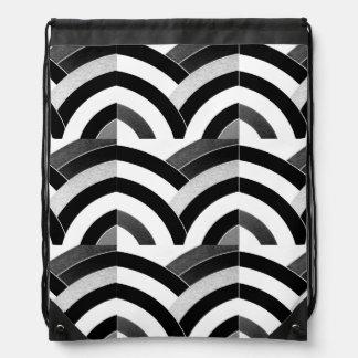 hip sophisticated black/white curved chevron drawstring bag