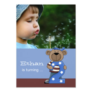 Hip Teddy 2-Year Old -  Photo Birthday Party  Invi 13 Cm X 18 Cm Invitation Card