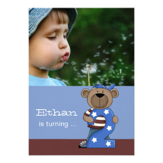 Hip Teddy 2-Year Old -  Photo Birthday Party  Invi Announcement