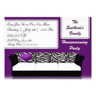 hip trendy mod purple sofa party Invitation