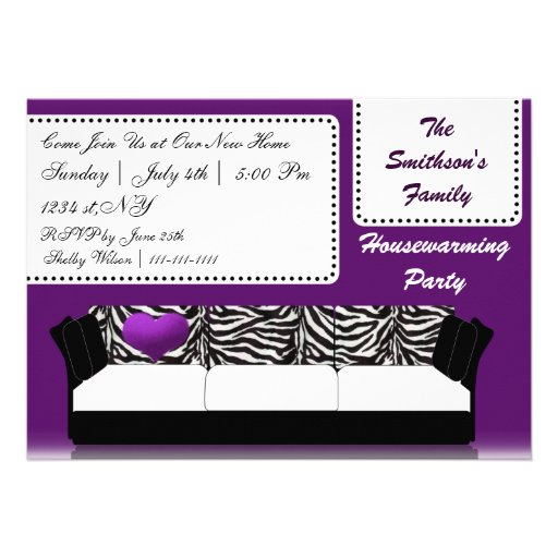 hip trendy mod purple sofa , party Invitation