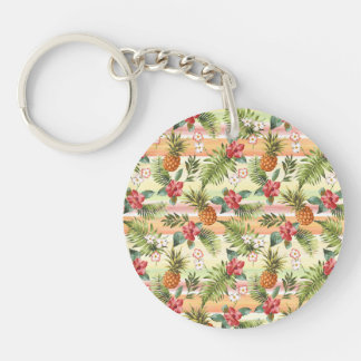 Hip Tropical Pineapple Fruit Floral Stripe Pattern Double-Sided Round Acrylic Key Ring