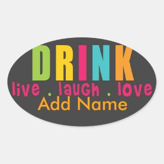 Hip Wine Label Oval Sticker