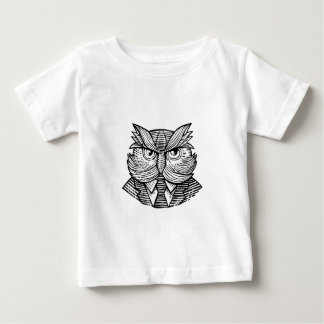 Hip Wise Owl Suit Woodcut Baby T-Shirt