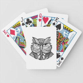 Hip Wise Owl Suit Woodcut Bicycle Playing Cards