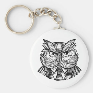 Hip Wise Owl Suit Woodcut Key Ring