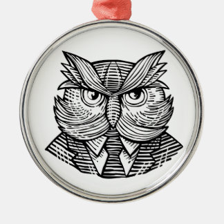 Hip Wise Owl Suit Woodcut Metal Ornament