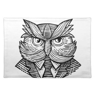 Hip Wise Owl Suit Woodcut Placemat