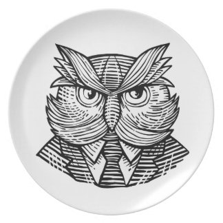 Hip Wise Owl Suit Woodcut Plate
