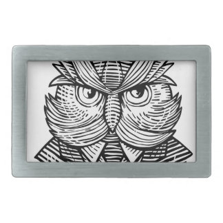 Hip Wise Owl Suit Woodcut Rectangular Belt Buckles