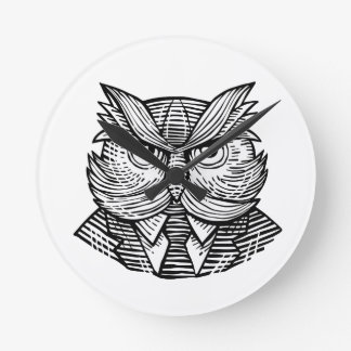 Hip Wise Owl Suit Woodcut Round Clock
