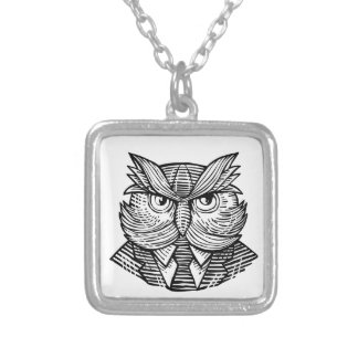 Hip Wise Owl Suit Woodcut Silver Plated Necklace