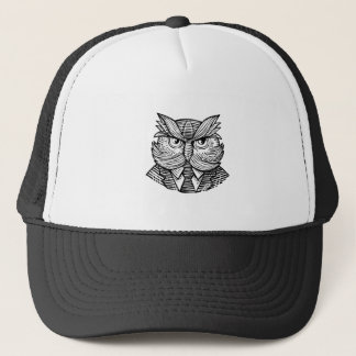 Hip Wise Owl Suit Woodcut Trucker Hat