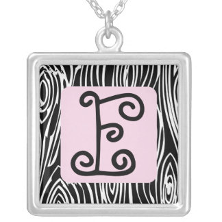Hip Woodgrain Monogram: Pink Silver Plated Necklace