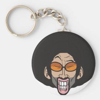 Hiphop Afro man Basic Round Button Key Ring