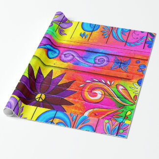 hippie 70's psychedelic wrapping paper