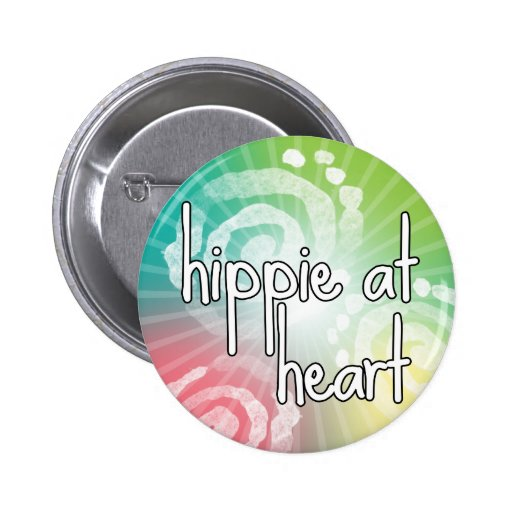 Hippie at Heart Pinback Buttons
