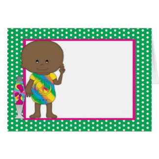 Hippie Babies African American Green Polka Dots Cards