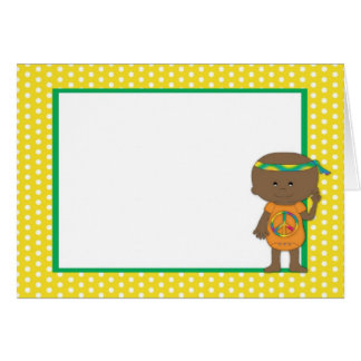 Hippie Babies African American Yellow Polka Dots 2 Greeting Cards