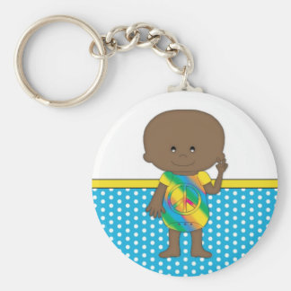 Hippie baby African American 2 Key Chains