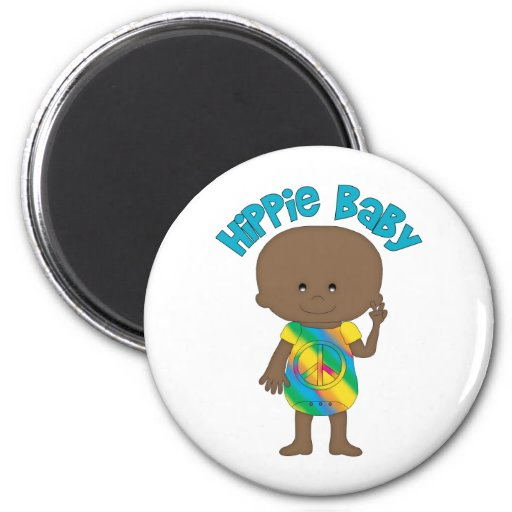 Hippie Baby African American 2 Refrigerator Magnets