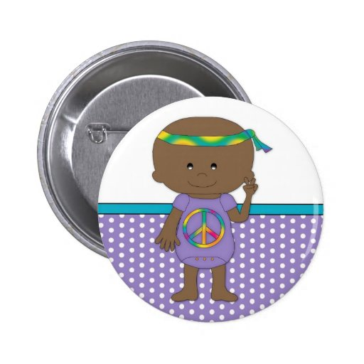 Hippie Baby African American Pinback Buttons