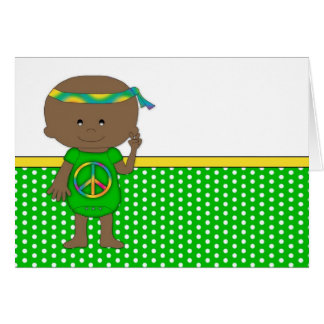 Hippie Baby African American Green Greeting Cards