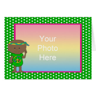 Hippie Baby African American Green Dots Greeting Card
