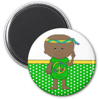 Hippie Baby African American Green Magnet