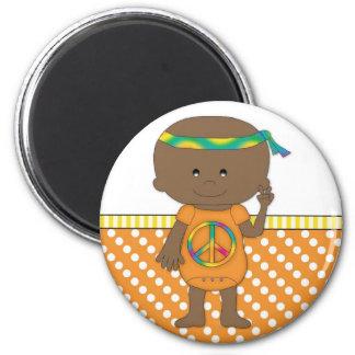 Hippie Baby African American Orange Polka Dots 3 Fridge Magnet