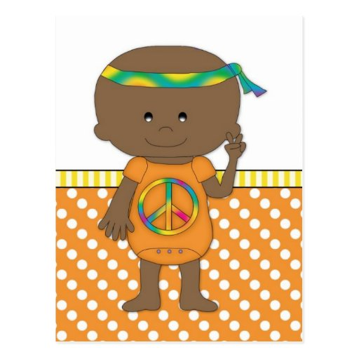 Hippie Baby African American Orange Polka Dots 3 Post Cards