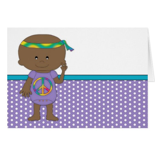 Hippie Baby African American Purple Greeting Cards
