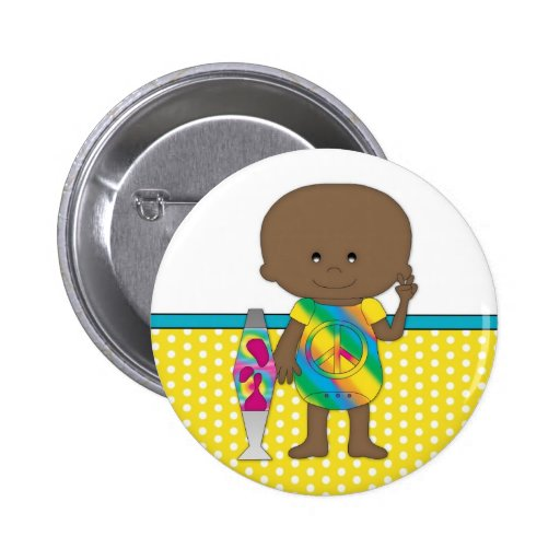 Hippie Baby African American Yellow Polka Dots Pins