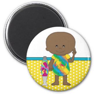 Hippie Baby African American Yellow Polka Dots Fridge Magnet