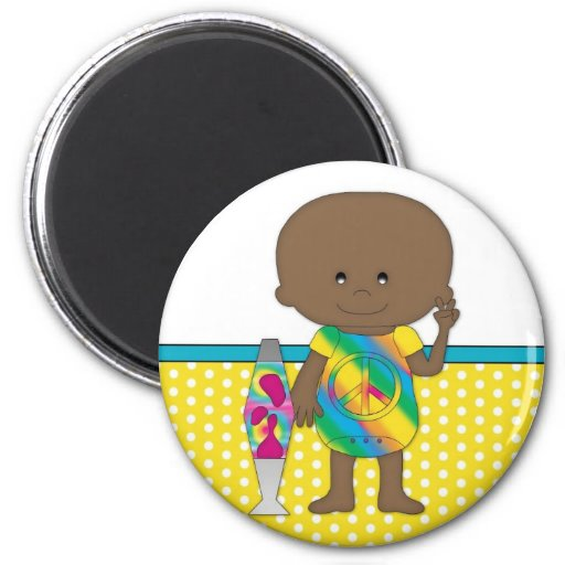Hippie Baby African American Yellow Polka Dots Fridge Magnet
