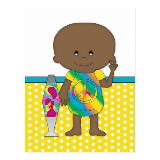 Hippie Baby African American Yellow Polka Dots Postcards