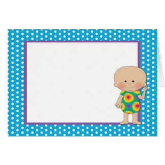 Hippie Baby Blue Polka Dots (4) Greeting Cards