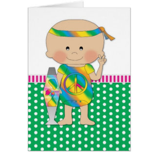 Hippie Baby Green Greeting Cards