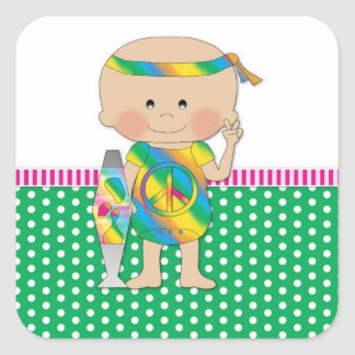 Hippie Baby Green Square Stickers