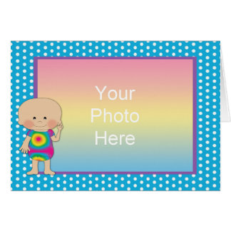 Hippie Baby Photo Frame Blue Dots 2 Greeting Card