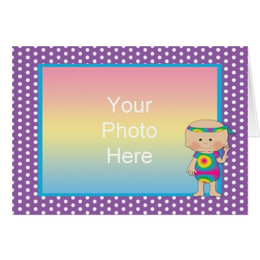 Hippie Baby Photo Frame Purple  Greeting Cards