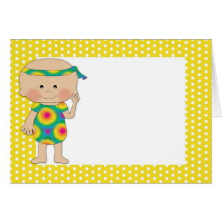 Hippie Baby Yellow Polka Dots (2) Greeting Cards