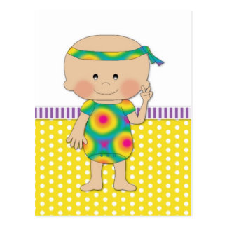 Hippie Baby Yellow Post Cards