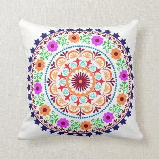 Hippie bohemian floral design pillow-white cushion