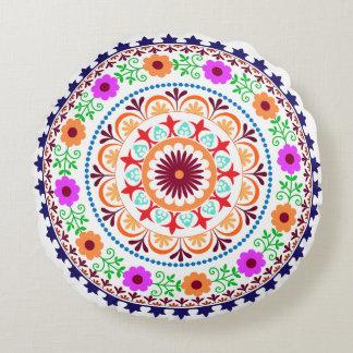 Hippie bohemian floral design round pillow-white round cushion